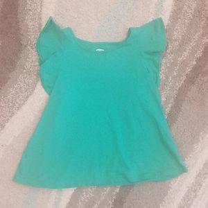 Girls Green Flutter Sleeve Blouse